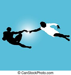 """the creation of Adam\"" Silhouettes illustration of the..."