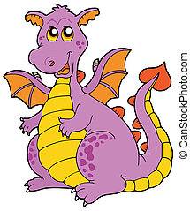 Big purple dragon - vector illustration.