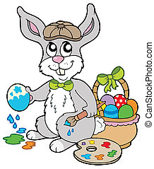 Easter bunny artist - vector illustration.