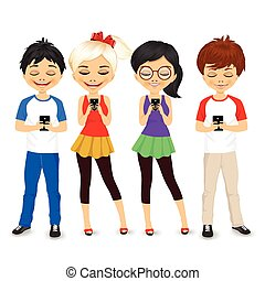 young people using mobile phones