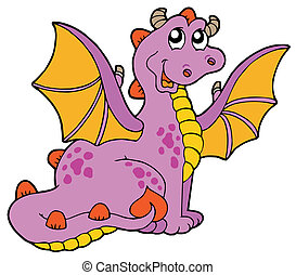 Purple dragon with big wings - vector illustration
