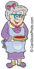 Granny with cake - vector illustration.
