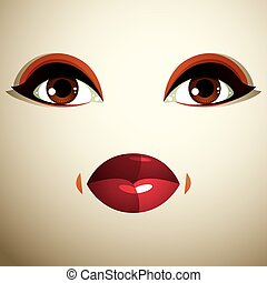 Emotional expression on the face of a cute girl. Beautiful sad and dreamy woman with a modern makeup.