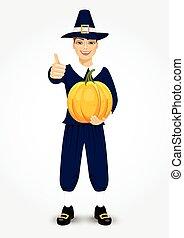 pilgrim man holding a pumpkin