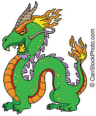 Chinese dragon on white background - vector illustration.