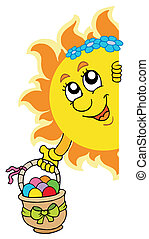 Lurking Sun with Easter eggs - vector illustration.