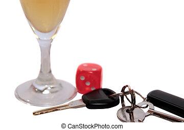 llaves, coche, flauta, dados, champaña
