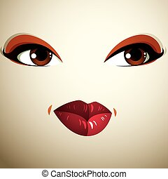 Facial expression of a young pretty woman Coquette lady...