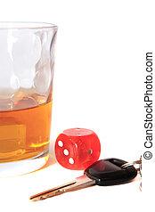 llaves, whisky, dados, coche
