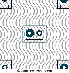cassette sign icon Audiocassette symbol Seamless pattern...
