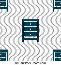 Nightstand icon sign Seamless pattern with geometric texture...