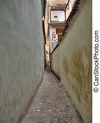 The narrowes street in Europe, Brasov, Romania, Eastern...