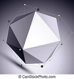 Vector digital 3d abstraction, lattice geometric template, perspective wireframe contrast spherical illustration.