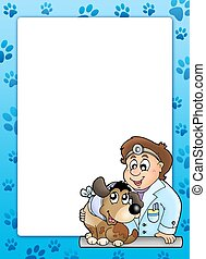 Blue frame with veterinary theme - color illustration.