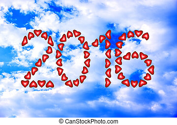 New Year 2016 made from hearts