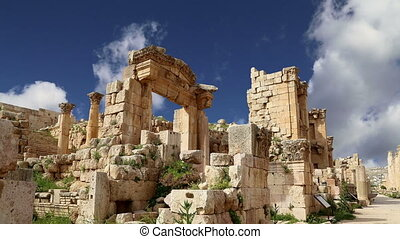 Jordanian city of Jerash, Jordan - Roman ruins in the...