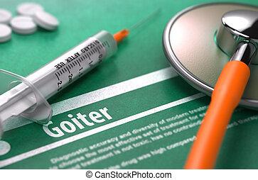 Goiter., Monde Médical, concept, sur, vert,...