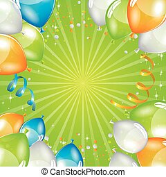 Green balloons background
