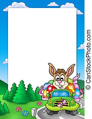 Easter frame with bunny driving car - color illustration.