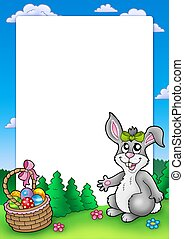 Easter frame with cute bunny - color illustration.