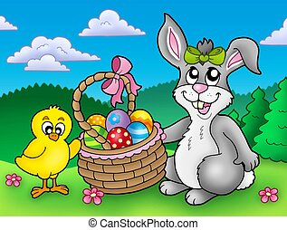 Cute Easter bunny and chicken