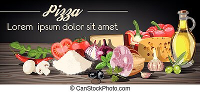 Pizza ingredients - Illustration of pizza ingredients on...