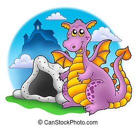 Dragon with cave and castle 1