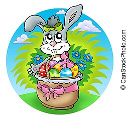 Easter rabbit with decorated eggs - color illustration.