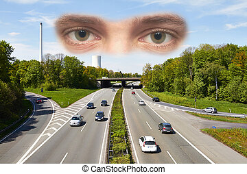 Junction - Eyes are seeing on a motorway junction on a sunny...