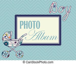 Baby photo album cover - Vector baby photo album cover for...