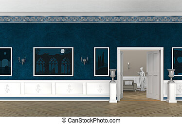 vintage castle, villa or museum interior - 3 D rendering of...
