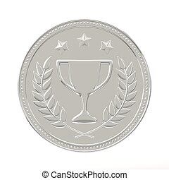 Silver Medal - Silver medal with laurels, stars and cup...