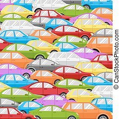 Traffic Jam With Cars. Road Background - Traffic Jam With...