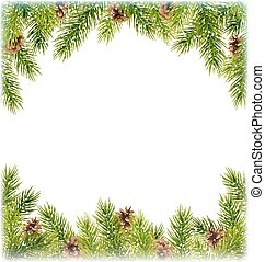 Green Christmas Tree Pine Branches with Pinecones Like Frame...