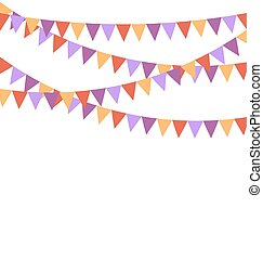 Multicolored bright buntings flags garlands isolated on...