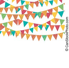 Multicolored Bright Buntings Garlands Flags with Ornament...