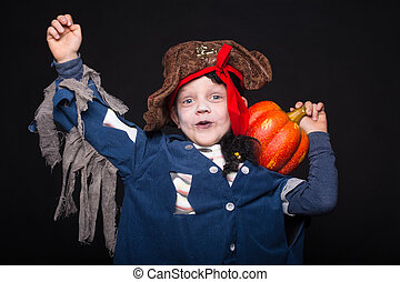 Pirate. Kid. Halloween - Little boy wearing pirate costume....
