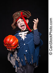 Pirate Kid Halloween - Little boy wearing pirate costume...