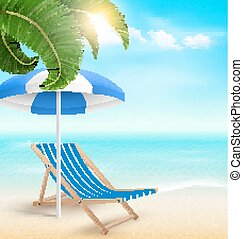 Beach with palm clouds sun umbrella and beach chair. Summer vacation background