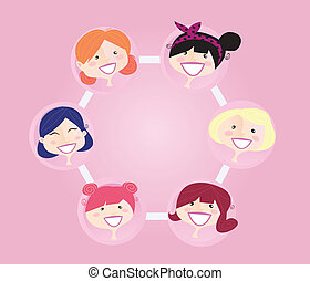 Women networking group - Women network group illustration....