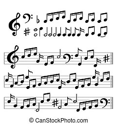Music signs: notes and clef - Music signs: notes, clef and...