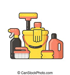 cleaning supplies - Cleaning supplies still life in flat...