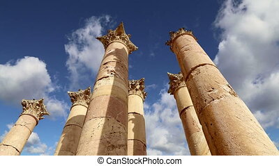 Jordanian city of Jerash - Roman Columns in the Jordanian...