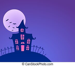 Halloween haunted house - Halloween night background with...