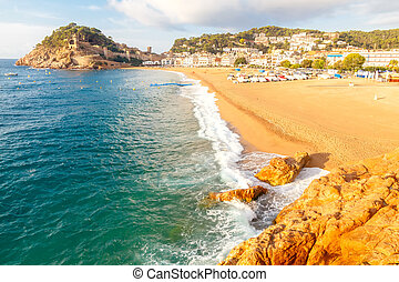Tossa de Mar Beach. Costa Brava. - Sandy beach at Tossa de...