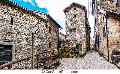 Beautiful alleyway in the historic town of Casso, Friuli,...