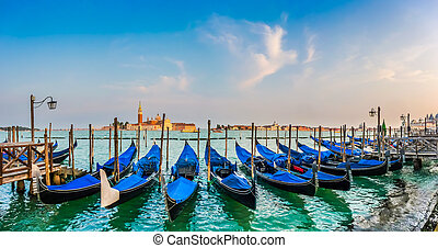Gondolas on Canal Grande at sunset, San Marco, Venice, Italy