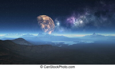 Alien Planet and UFO - The rocky landscape is covered with a...
