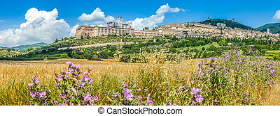 Ancient town of Assisi, Umbria, Italy - Panoramic view of...