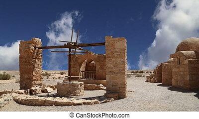 Quseir Qasr Amra desert castle near Amman, Jordan World...